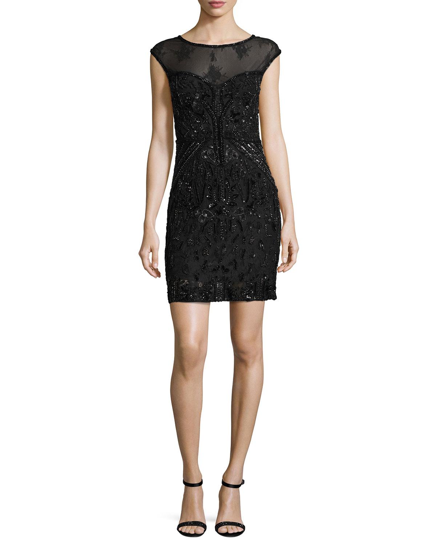 Montclair Cap-Sleeve Beaded Lace Cocktail Dress, Black