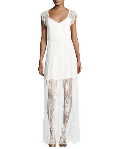 Erika Cap-Sleeve Floral Lace Column Gown, White