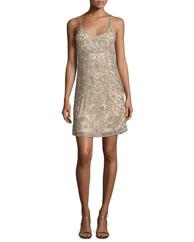 Hayden Beaded Slip Dress, Nude