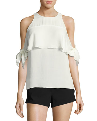 Penelope Cold-Shoulder Tie-Sleeve Top, White