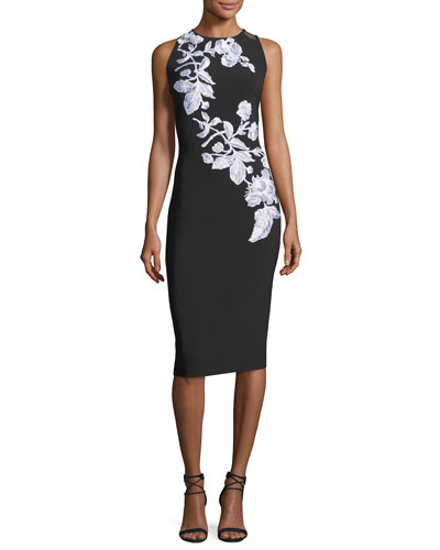 Sleeveless Metallic Floral Stretch Crepe Cocktail Dress, Black/White