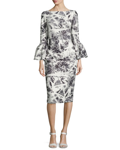 Bell-Sleeve Scuba Palm-Print Cocktail Dress, Steel/White