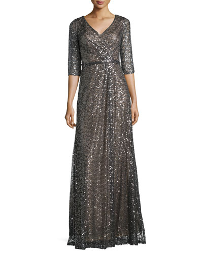 3/4-Sleeve Sequined Mesh Gown, Charcoal