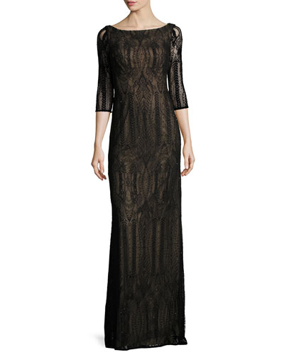 3/4-Sleeve Beaded Geometric Column Gown, Black
