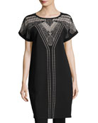 Havana Nights Short-Sleeve Embroidered Tunic Dress, Plus Size