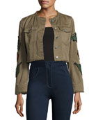 Halina Crop Denim Jacket W/ Logo Patches, Olive