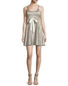 Geneva Printed Silk Mini Dress, Ivory