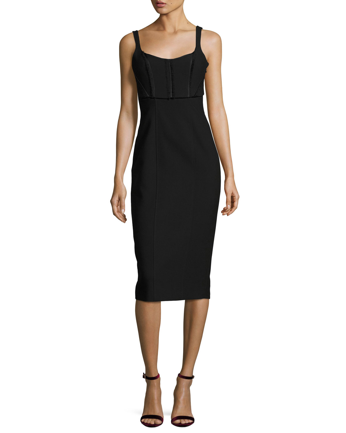 Ellette Sleeveless Sheath Midi Dress, Black