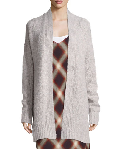 Lofty Wool Cardigan Sweater, White Multi