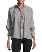Striped Boxy Button-Front Cotton Shirt