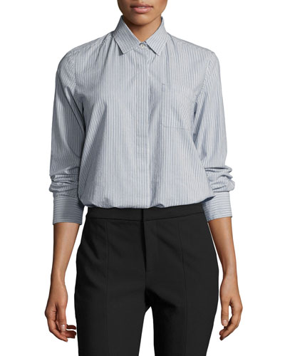 Mixed Stripe Button-Front Shirt, Multi