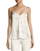 Two-Tone Floral-Print Silk Camisole Top, Sheepskin