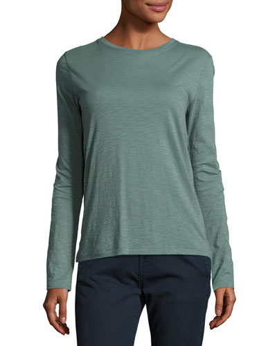 Slub Cotton Long-Sleeve Tee, Sea Glass