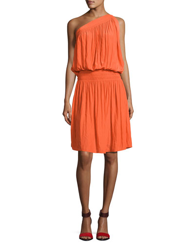Rebecca One-Shoulder Goddess Dress, Orange