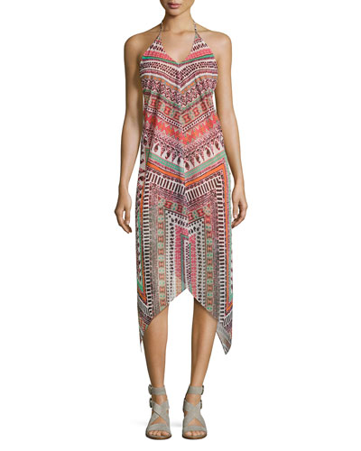 Nadia Herringbone Printed Dress, Multi