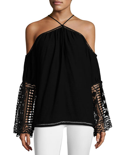 Peyton Halter Long-Sleeve Lace Top, Black