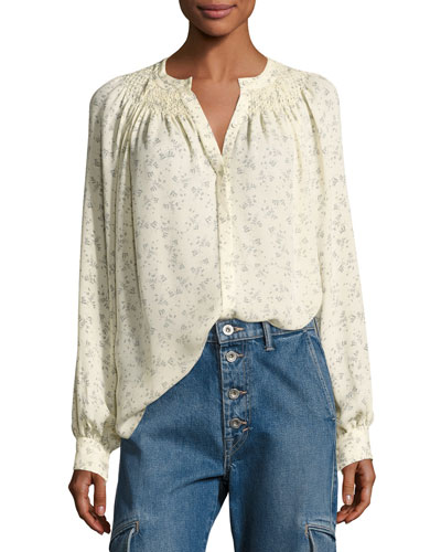 Floral Silk Smocked Blouse, Sheepskin