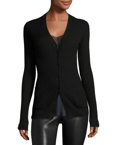 Rib Skinny Cashmere Cardigan Sweater, Black