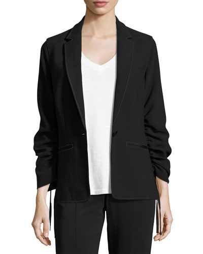 Myrla Ruched-Sleeves Blazer, Black