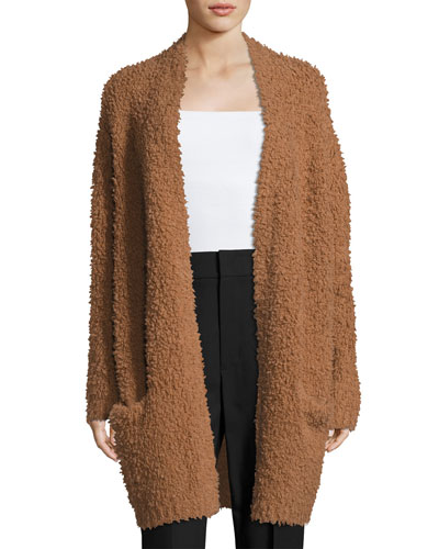 Teddy Long Open-Front Cardigan, Dark Camel