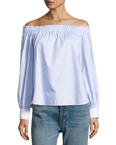 Geneva Off-The-Shoulder Cotton Top, Blue/White