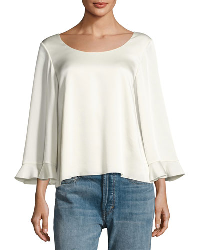 Karlotta Boat-Neck Scoop-Back Blouse, Ivory