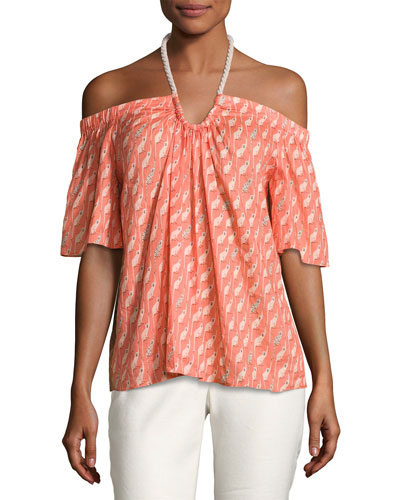 Tent Halter-Neck Monkey Printed Top, Orange