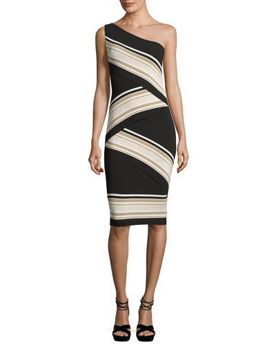 Damascus One-Shoulder Striped Dress, Black