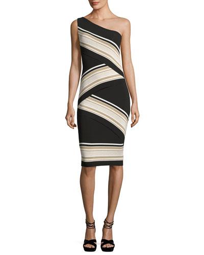 Damascus One-Shoulder Striped Dress, Black