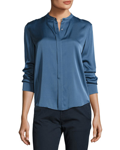 Long-Sleeve Stretch Silk Blouse