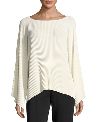 Reagan Pleated Wide-Sleeve Boat-Neck Sweater, Ivory