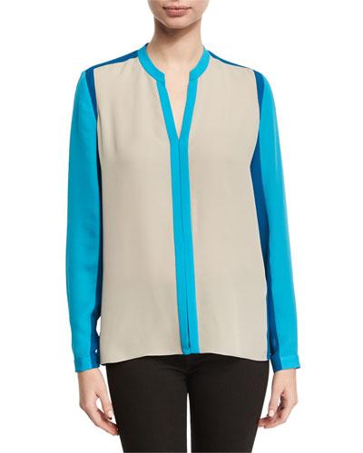 Layne Long-Sleeve Colorblocked Silk Blouse