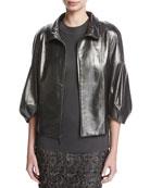 Pearlized Napa Leather Jacket