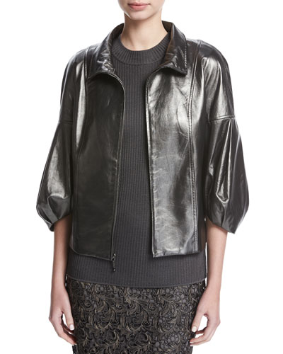 Pearlized Napa Leather Jacket