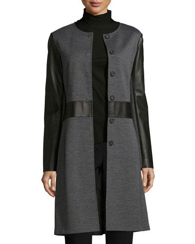 Milano Knit Topper Jacket w/ Napa Leather Detail