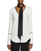 Long-Sleeve V-Neck Scarf Silk Blouse