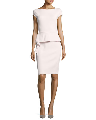 Luxe Sculpture Knit Dress W/ Draped Peplum
