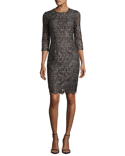 Plume Embroidered Guipure Lace Dress
