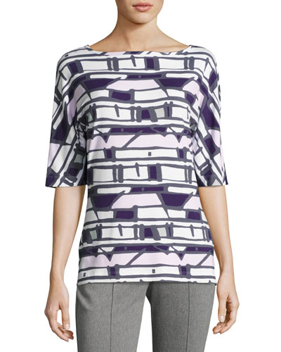 Half-Sleeve Broken Striped Top