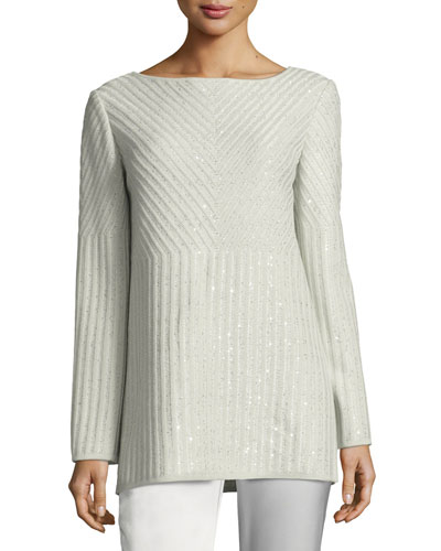 Sparkle Engineered Rib Bateau-Neck Sweater