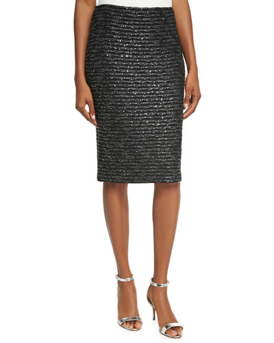 Sparkle Wave Tweed Pencil Skirt, Black