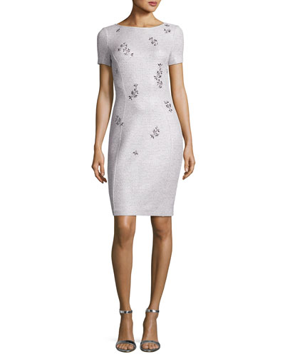 Iridescent Shimmer Knit Bateau-Neck Dress
