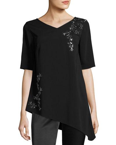 Embellished V-Neck Elbow-Sleeve Top