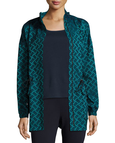 Tile Jacquard Funnel-Neck Jacket