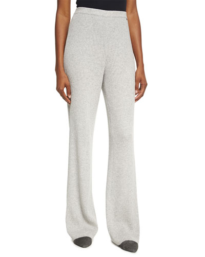 Cashmere Rib-Knit Pants
