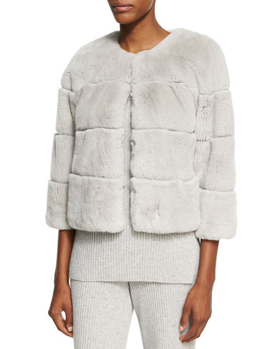 Rex Rabbit Fur Jewel-Neck Jacket