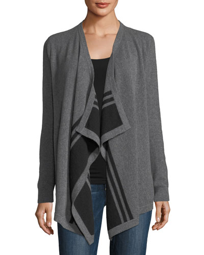 Striped Draped Cashmere Cardigan