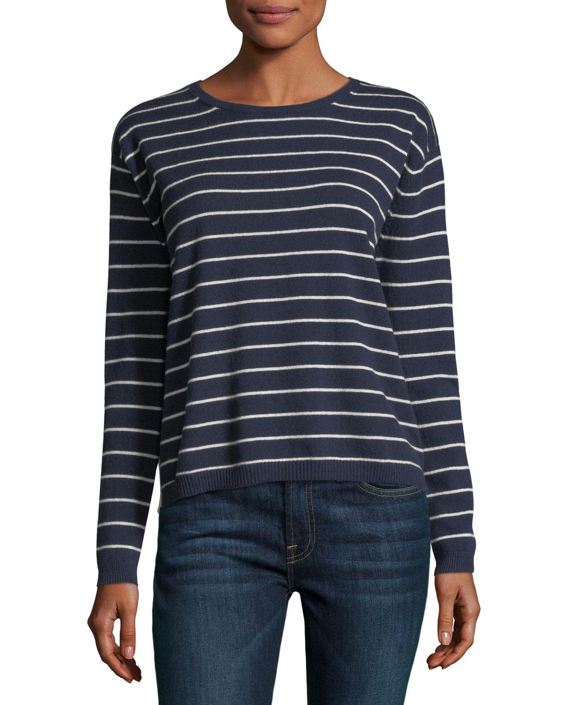 Striped Cashmere Crewneck Pullover