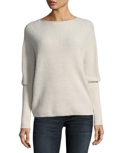 Shaker-Stitch Cashmere Pullover