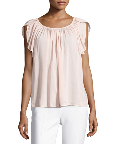 Caris Scoop-Neck Cap-Sleeve Top, Pink